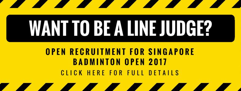 Line Judge Recruitment for Singapore Open 2018