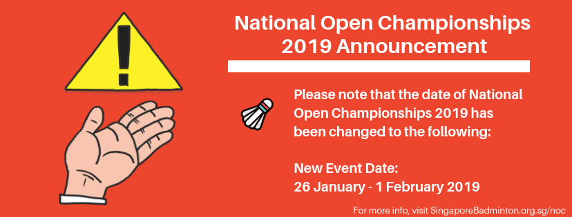 Singapore National Open Championships 2019 Annoucement